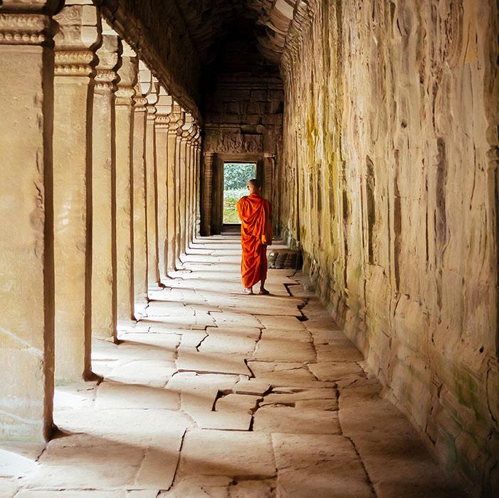 Tempel, buddhistischer Mönch, Angkor, Kambodscha