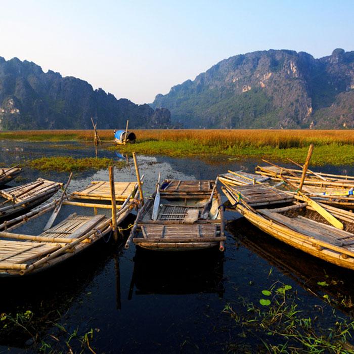 Sonnenuntergang, Ninh Binh, Vietnam